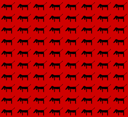 1000 dogs pattern in red and black