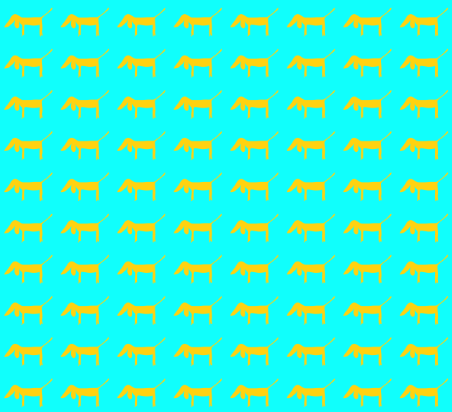 1000 dogs pattern in yellow and blue