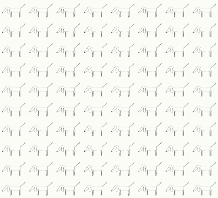 1000 dogs pattern in white