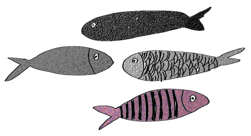Fishes in black and pink (tilde)